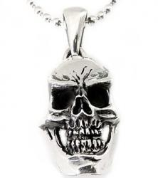 Sterling Silver Frown Lines Skull Pendant