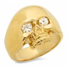Small 14K Gold Skull Ring with Diamond Eyes