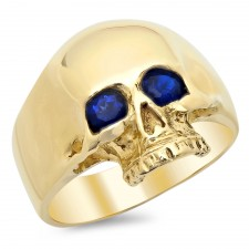 14K Gold Skull Ring with Blue Sapphire Eyes