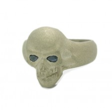 Small Sand Texture Skull White Gold Ring
