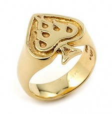 14K Gold Ace Flame Ring
