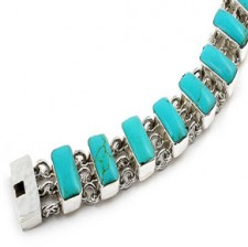 Sterling Silver Turquoise Square Link Bracelet